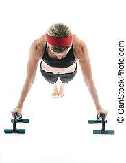 トレーナー, バー, 年齢, 上へ押しなさい, 運動, 中央, 魅力的, 女性, フィットネス, 前部, ∥上げる∥, 光景