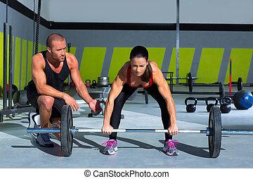 トレーナー, 女, バー, 重量, 個人的, ジム, 持ち上がること, 人