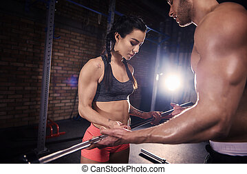 トレーナー, 女, バー, 重量, 個人的, 助力