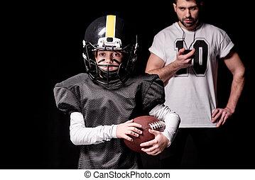 トレーナー, 男の子, フットボール, タイマー, 見る, プレーヤー, アメリカ人, スポーツ