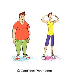 トレーナー, 筋肉, フィットしなさい, ショー, 運動, 上に, 太りすぎ, 隔離された, 脂肪, フィットネス, ...