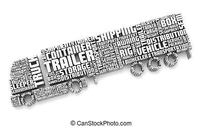 トレーラー トラック, 形づくること, 言葉, 3d