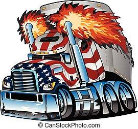 トレーラー, 半, ベクトル, 大きい用具一式, アメリカ人, 隔離された, 漫画, 愛国心が強い, トラック, イラスト, トラクター, 旗