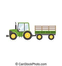 トレーラー, 農業, トラクター, イラスト, 隔離された, アイコン, ベクトル, 緑, デザイン, 平ら, 背景, 白