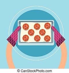 トレー, ケーキ, cupcakes, 角度, 甘い, 上, パン屋, 手袋, 手を持つ, 台所, ビスケット, 光景