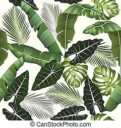 トロピカル, やし, 葉, swimwear, パターン, -, seamless, 葉, alocasia,...