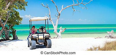 トロピカル, ゴルフ, 浜, カート