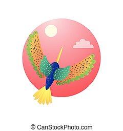 トロピカル, ハチドリ, motley, 飛行, 空, 羽, 色