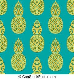 トロピカル, パターン, フルーツ, seamless, パイナップル