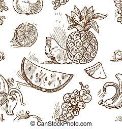 トロピカル, パターン, フルーツ, seamless, doodles