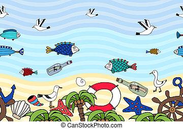 トロピカル, パターン, 横, 浜, seamless