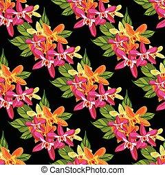 トロピカル, パターン, flowers., 花, seamless