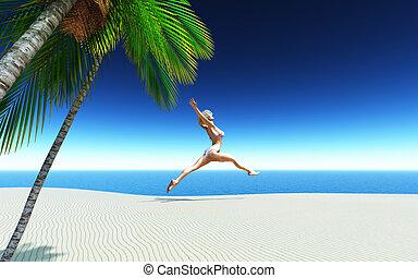 トロピカル, ビキニ, 跳躍の女性, 浜, 3d