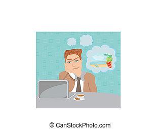 トロピカル, ビジネスマン, 休暇, 夢を見ること