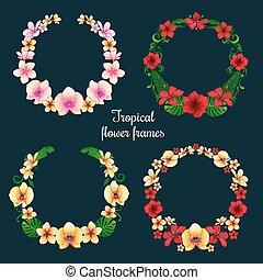 トロピカル, フレーム, 花, タグ