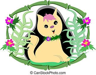 トロピカル, フレーム, 花, 竹, ねこ