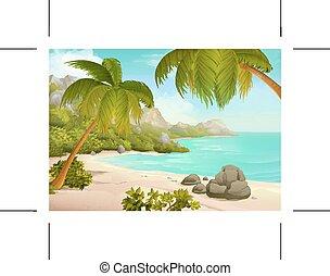 トロピカル, ベクトル, 浜, 背景