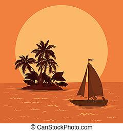 トロピカル, ボート, 海, 航海