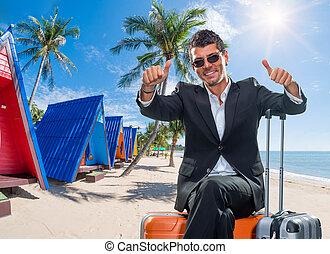 トロピカル, リゾート, 人, ビジネス, スーツケース