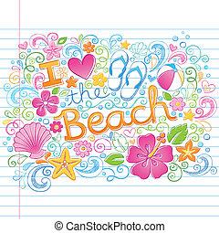 トロピカル, 夏, 浜, ハワイ