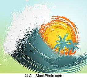 トロピカル, 太陽, やし, 背景, 波