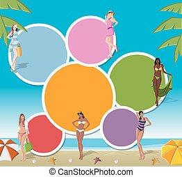 トロピカル, 女の子, 浜, 漫画
