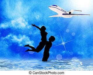 トロピカル, 島, 観光客, 海, 休暇