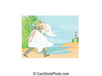 トロピカル, 恋人, 浜 結婚式