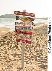 トロピカル, 木, 作られた, 浜。, 道標