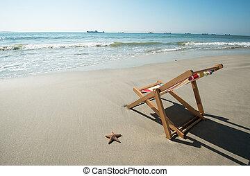 トロピカル, 椅子, 浜, デッキ