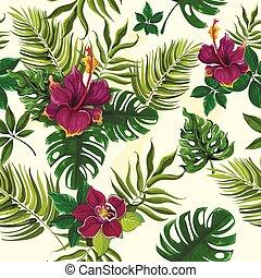 トロピカル, 植物, 花, seamless, パターン