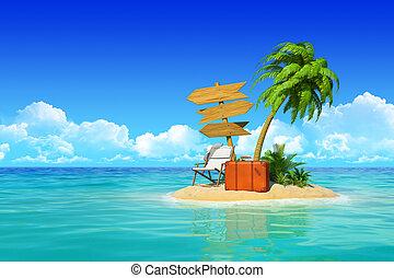 トロピカル, 概念, signpost., 木製である, 島, スーツケース, 3, リゾート, travel., ホリデー, 木, やし, 空, 残り, chaise, 砂漠, ラウンジ