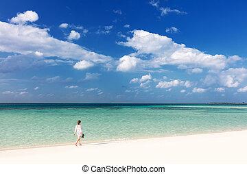 トロピカル, 歩くこと, 女, 浜, モルディブ