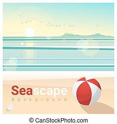トロピカル, 海景, 朝, 1, 背景, 浜