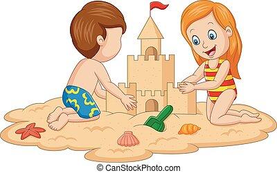 トロピカル, 砂, 作成, 城浜, 子供