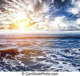 トロピカル, 空, 背景, 海洋