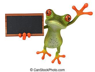 トロピカル, 緑, 楽しみ, 3d, 黒板, カエル