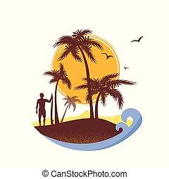 トロピカル, 背景, 海, 波, サーファー, island., ベクトル, ポスター