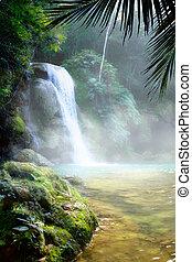 トロピカル, 芸術, 滝, 密集している, rainforest