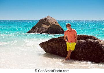 トロピカル, 若い, 休暇, 夏, リラックスしなさい, 人, ハンサム, 屋外, 肖像画, 浜