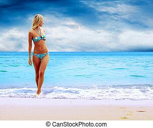 トロピカル, 若い, 日当たりが良い, ビキニ, 女性ビーチ, 美しい