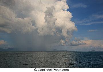 トロピカル, 雨, 中に, ∥, 海