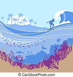 トロピカル, 青い背景, 海洋, 島, サーファー, ベクトル, 大きい波