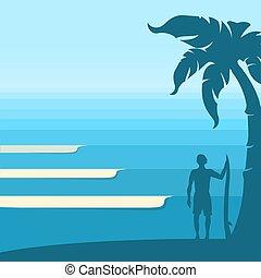 トロピカル, 青い背景, 海洋 波, 地平線, 人, サーファー, island., ベクトル, 海景
