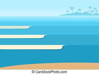 トロピカル, 青い背景, 海洋 波, 地平線, island., ベクトル, 海景