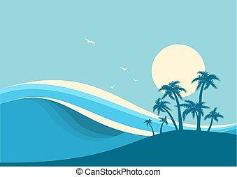 トロピカル, 青い背景, 海洋 波, island., ベクトル, 大きい