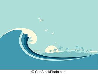 トロピカル, 青い背景, 海洋, island., ベクトル, 大きい波