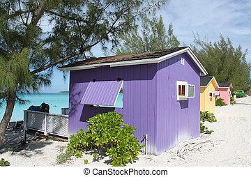 トロピカル, cabanas, 浜, カラフルである