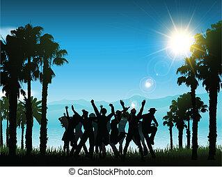 トロピカル, partying, 風景, 人々