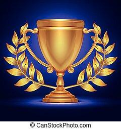 トロフィー, オリンピック, 花輪, 金のコップ, 勝者, 賞, ベクトル, イラスト, 月桂樹, スポーツ